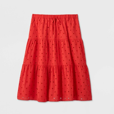Women's Plus Size Tiered Eyelet Midi Skirt - A New Day™  - image 1 of 2