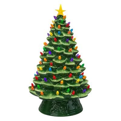 18in Ceramic Lit Tree Decorative Figurine Green - Mr. Christmas