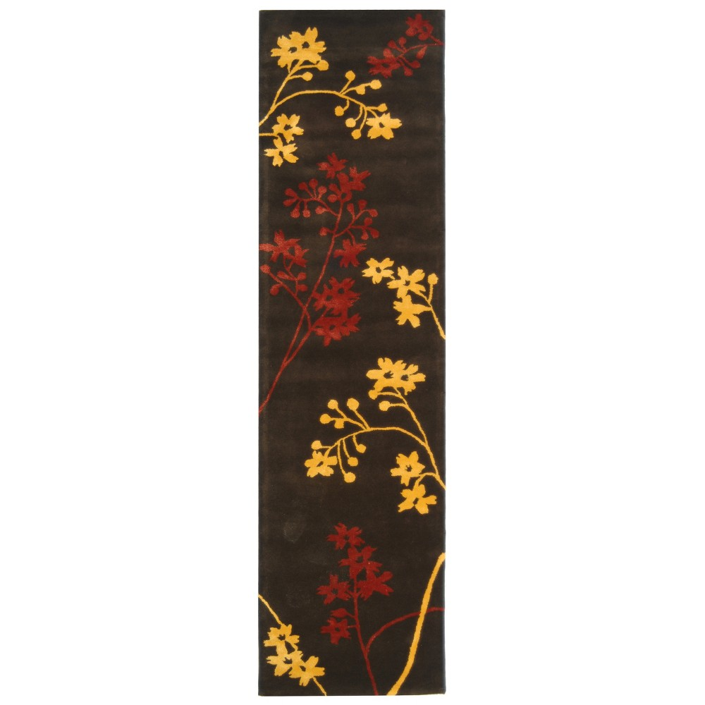 2'6X12' Tufted Floral Runner Rug Brown - Safavieh, Brown/Red