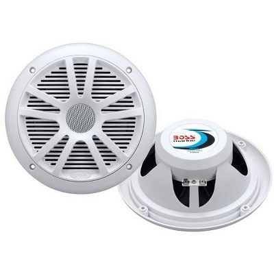 "2) New Boss Audio MR6W 6.5"" 180W Dual Cone Marine/Boat Speakers Stereo- White"