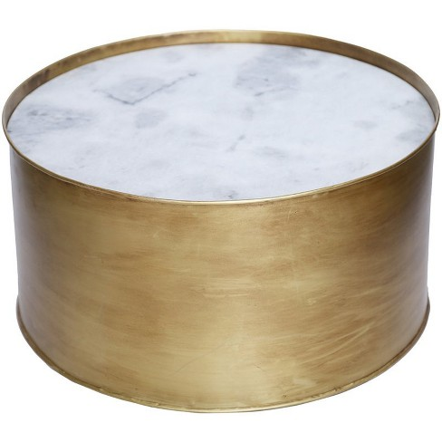 """Iron Modern Glamour Domingo 18"""""""" Round Marble Top Accent Table in Antique Gold-Renwil - image 1 of 2"""