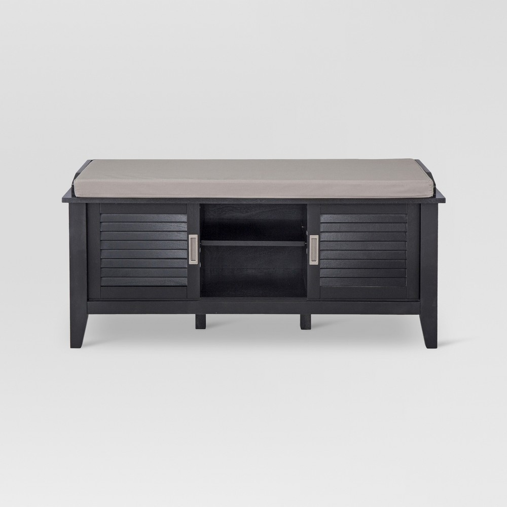 Storage Entryway Bench with Slatted Doors Black - Threshold
