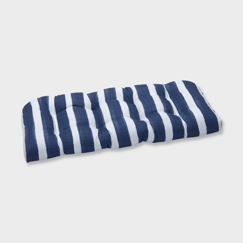 Nico Zaffre Wicker Outdoor Loveseat Cushion Blue - Pillow Perfect - image 1 of 1