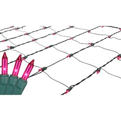 Northlight 4' x 6' Mini Incandescent Net Lights Pink- Green Wire