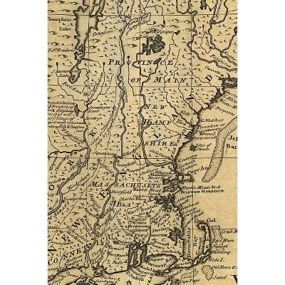 "New England Vintage Map Field Journal Notebook, 50 pages/25 sheets, 4x6"" - (Poetose Notebooks) by  Poetose Press (Paperback)"