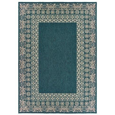 Landry Border Patio Rug Blue/Gray - image 1 of 2
