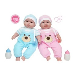 "JC Toys Lots to Cuddle Babies 13"" Twin Dolls"