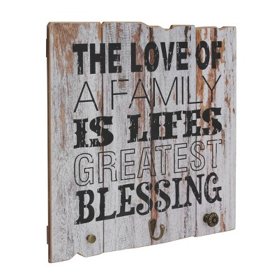 "15.7"" x 15.7"" Rustic Wooden Love of Family Wall Art Light Gray - Stonebriar Collection"