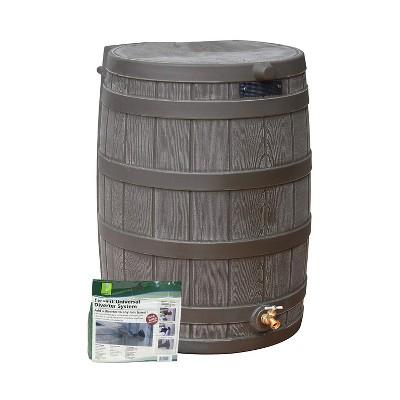 Good Ideas Rain Wizard Water Storage Rain Collection Barrel 50-Gallon w/ Diverter Kit, Oak
