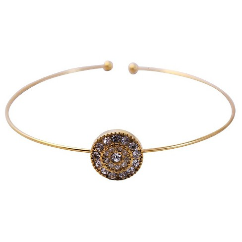 Women's Zirconite Pave Crystal Thin Open End Bracelet - Gold - image 1 of 1
