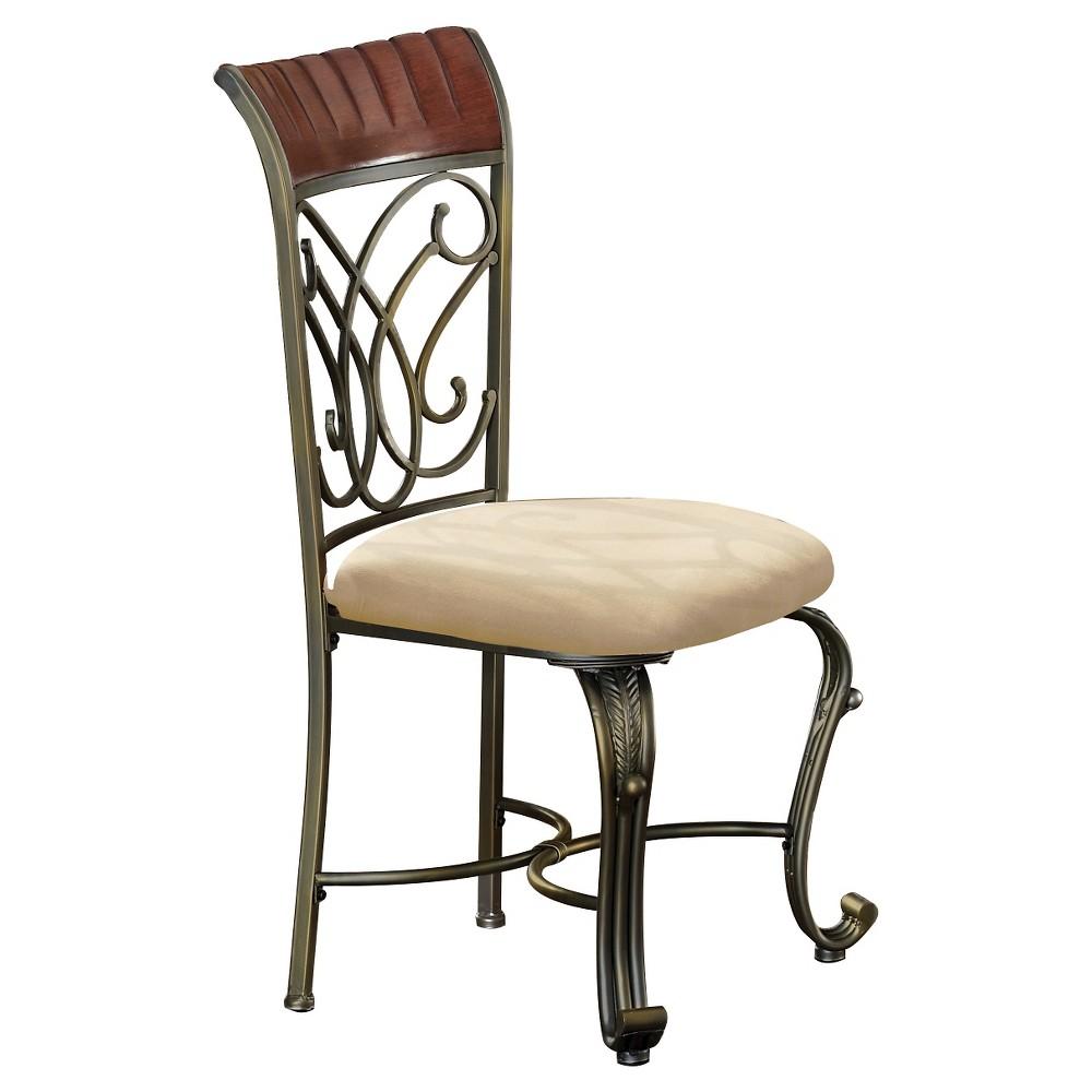 Omari Side Dining Chair Bronze Metal/Cherry (Set of 2) - Acme