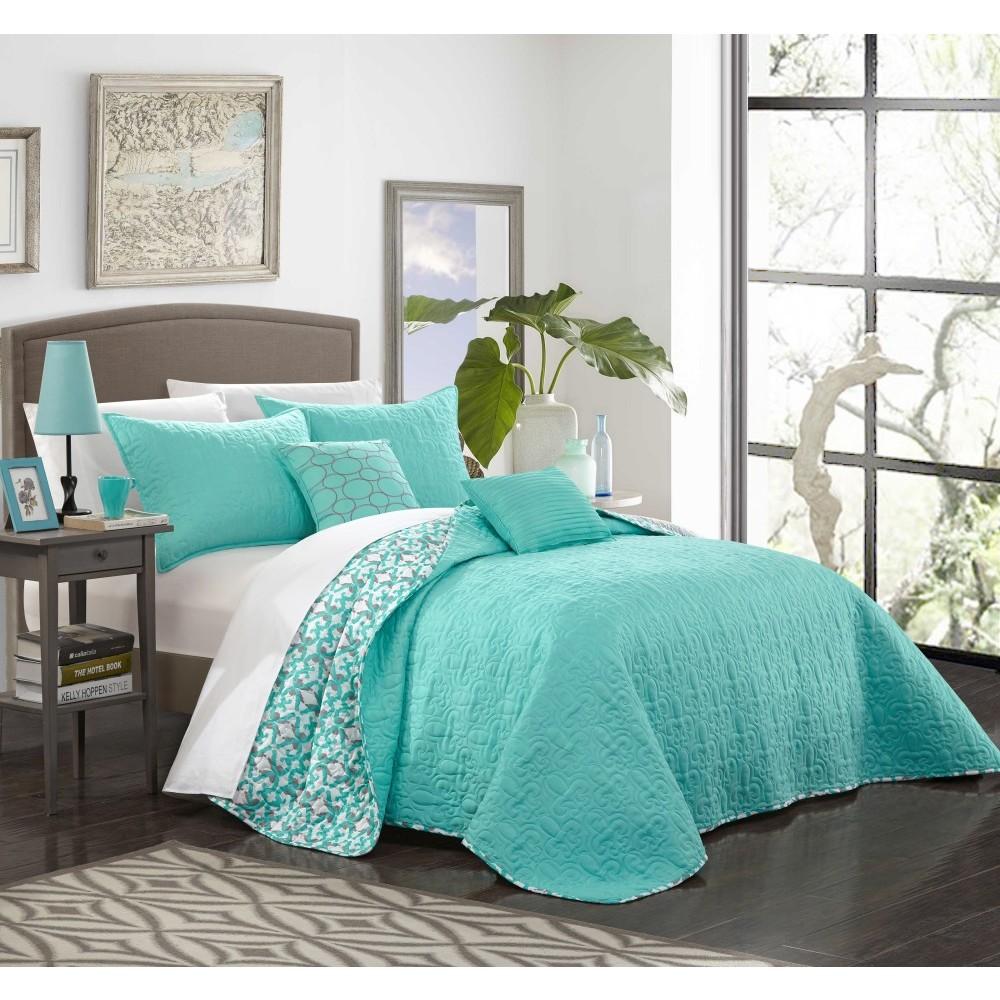 King 5pc Pamelia Quilt Set Aqua (Blue) - Chic Home