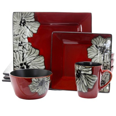 16pc Stoneware Garden Flower Dinnerware Set Red - Elama