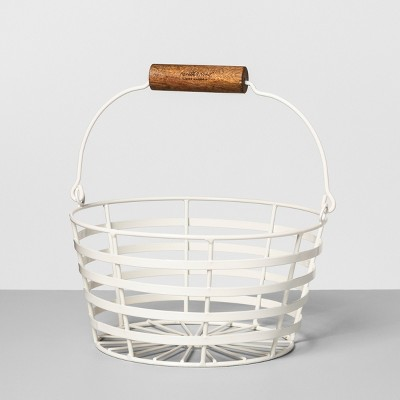 9.6  x 9.3  Wire Basket with Wood Handle Cream - Hearth & Hand™ with Magnolia