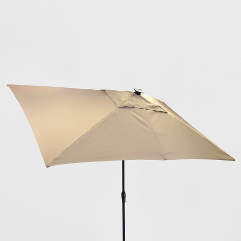 Solar Patio Umbrella Tan Black Pole