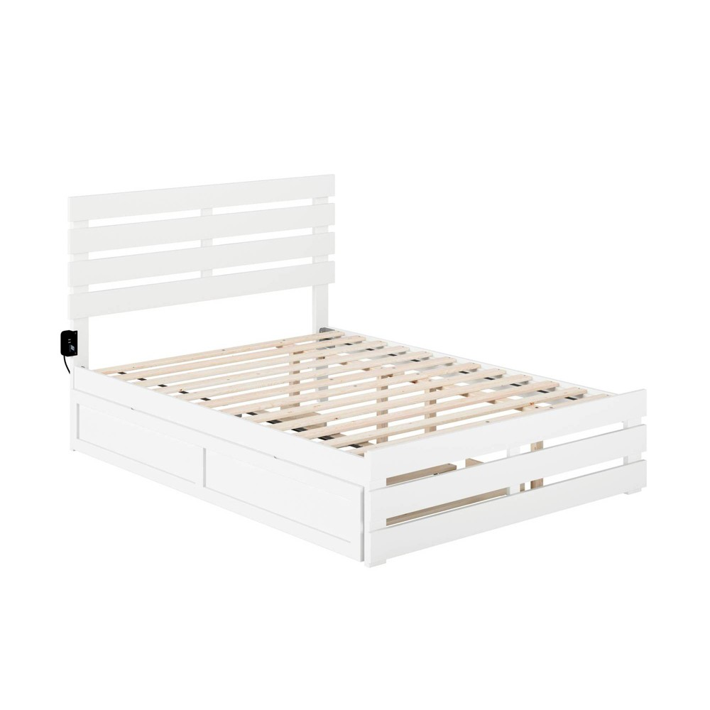 Full Oxford Bed With Footboard And Usb Turbo Charger With Trundle White Atlantic Furniture