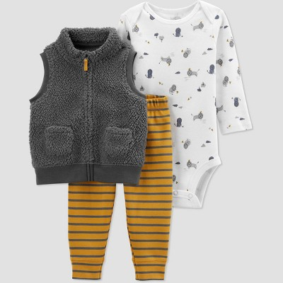 Baby Boys' Lion Vest Top & Bottom Set - Just One You® made by carter's Gray 3M