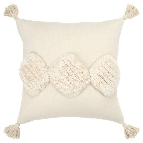 Geometric Poly Filled Pillow Square Neutral - Rizzy Home - image 1 of 5