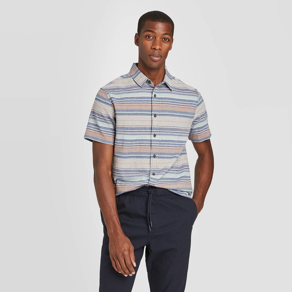 Men's Striped Standard Fit Short Sleeve Shirt - Goodfellow & Co Cyber Blue Stripe S was $19.99 now $12.0 (40.0% off)