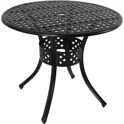 "33"" Cast Aluminum Round Dining Table - Black - Sunnydaze Decor"