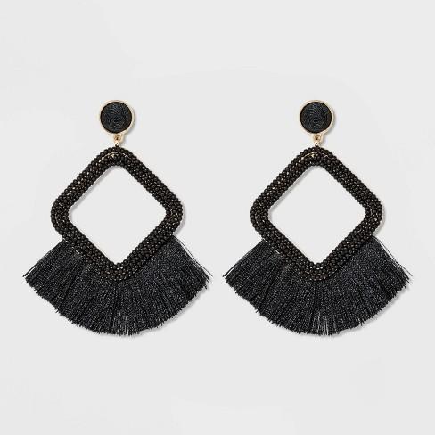 SUGARFIX by BaubleBar Fringe Hoop Earrings - Black - image 1 of 3