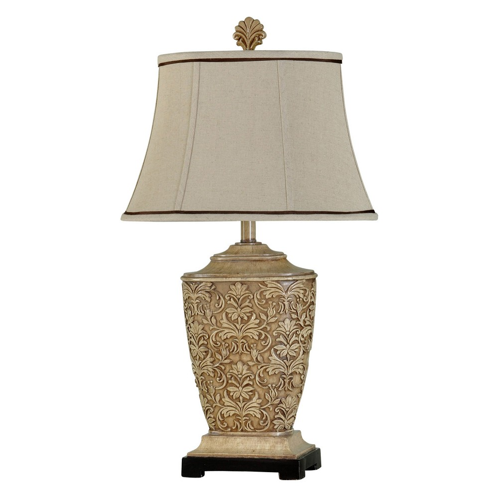 Tortola Carved Cream (Ivory) Table Lamp with Natural Softback Fabric Shade (Lamp Only) - StyleCraft