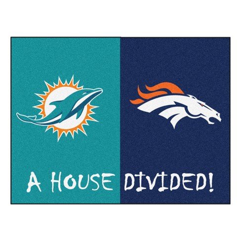 aa67bcbfea5 NFL Miami Dolphins Denver Broncos House Divided Rug 33.75