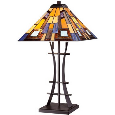 Robert Louis Tiffany Mission Table Lamp Iron Bronze Geometric Stained Glass Art Shade for Living Room Family Bedroom Bedside