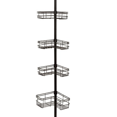 L - Shaped 4 Shelf Tension Pole Caddy Bronze - Zenna Home