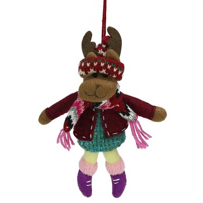 """Ganz 7"""" Bohemian Holiday Plush Moose Girl with Dangling Legs Christmas Ornament - Brown/Red"""