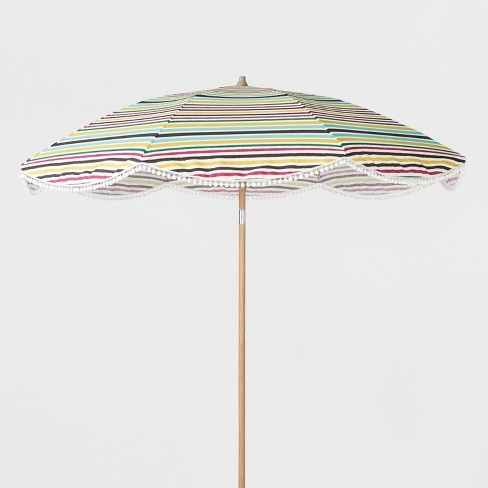 9' Scalloped Patio Umbrella Colorful Stripe White Poms - Light Wood Pole - Opalhouse™ - image 1 of 2