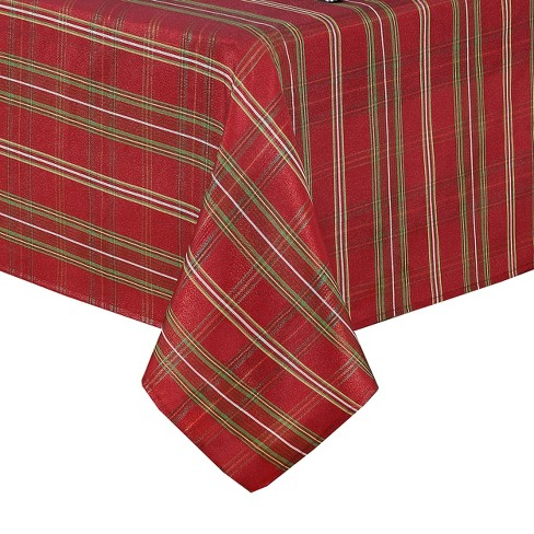 Shimmering Plaid Holiday Tablecloth - Red/Green - Elrene Home Fashions - image 1 of 4