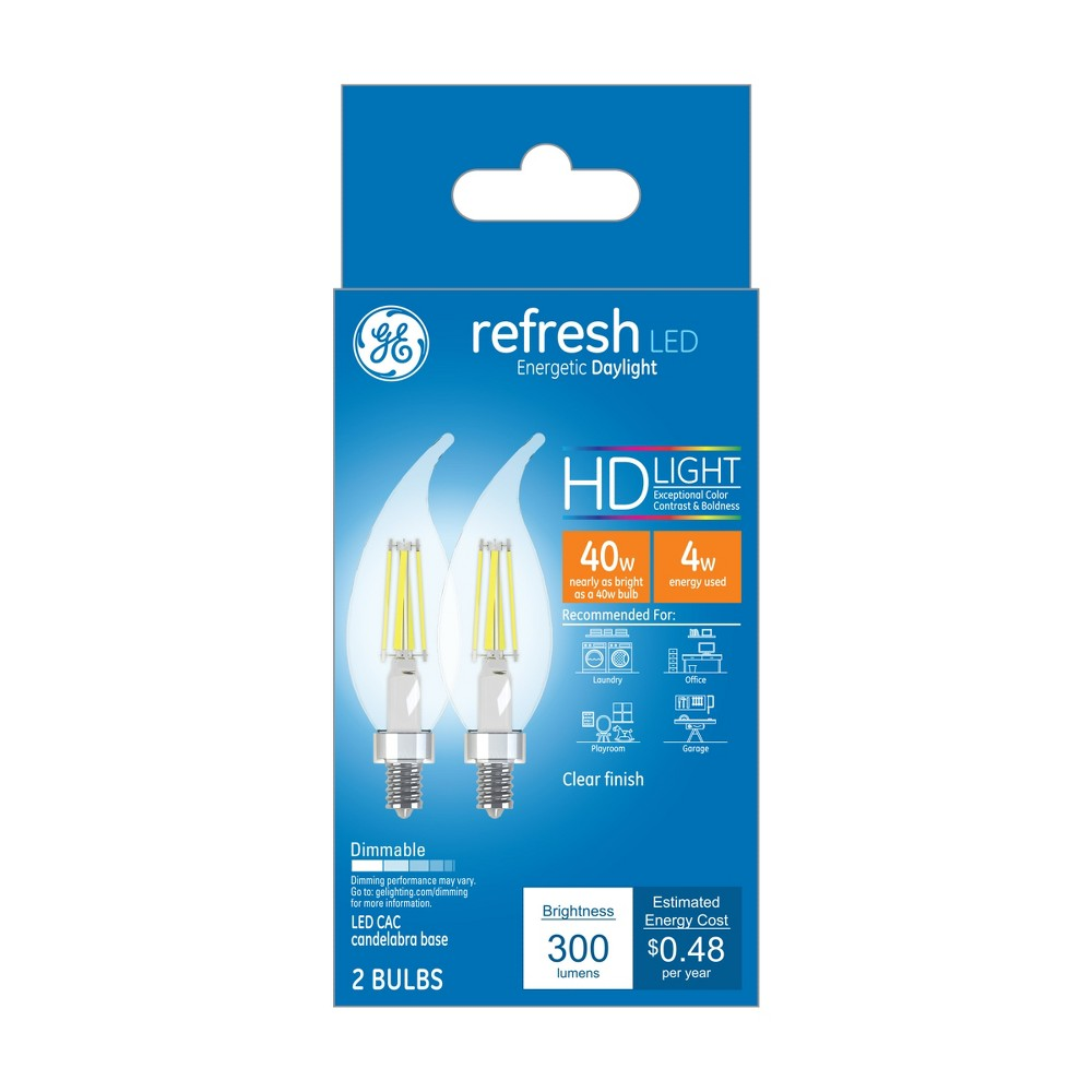 General Electric 2pk 40w Ca Refresh Led Light Bulb Dl Cac Clear