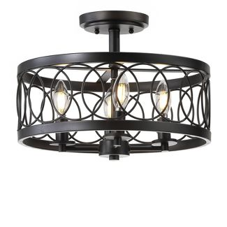 15.5u0022 Sylvain Metal LED Semi-Flush Mount Black (Includes Energy Efficient Light Bulb) - JONATHAN Y