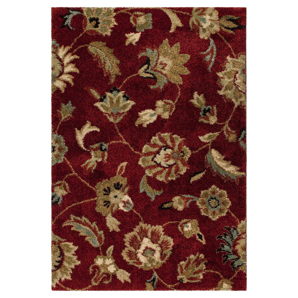 Red Botanical Woven Area Rug - (5'3