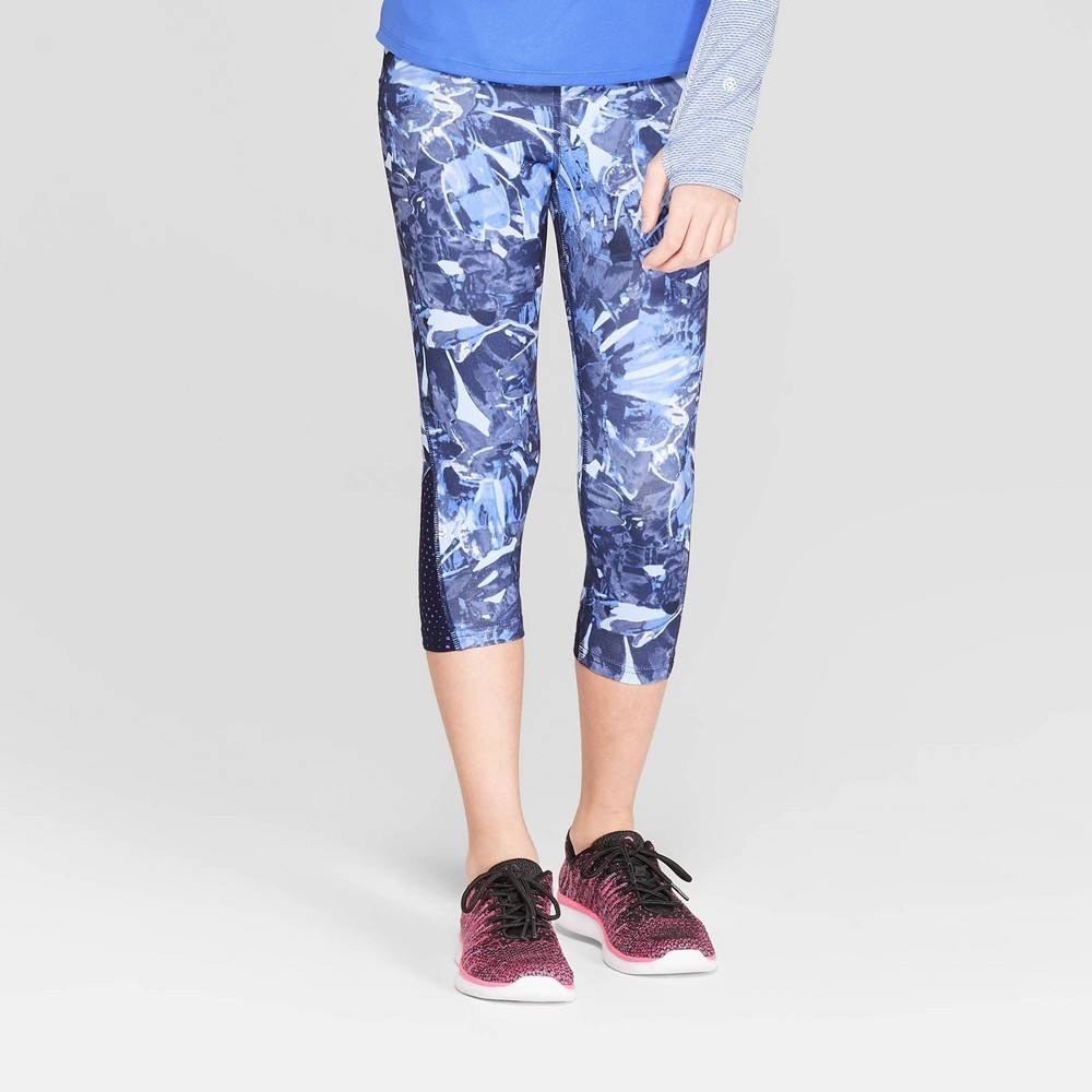 Girls' Laser Cut Premium Capri Leggings - C9 Champion Navy Blue M