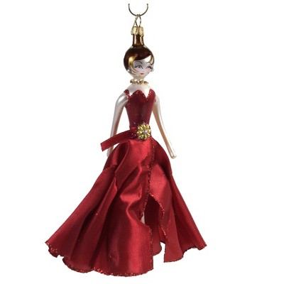 "Italian Ornaments 7.0"" Lady In A Red Front Slit Gown Ornament Italian Julia Diva  -  Tree Ornaments"