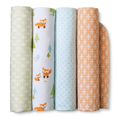 Flannel Baby Blankets Woodland Trails 4pk - Cloud Island™ - Orange/Green