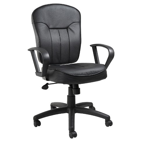 Leather Task Chair with Loop Arms Black - Boss Office Products - image 1 of 6