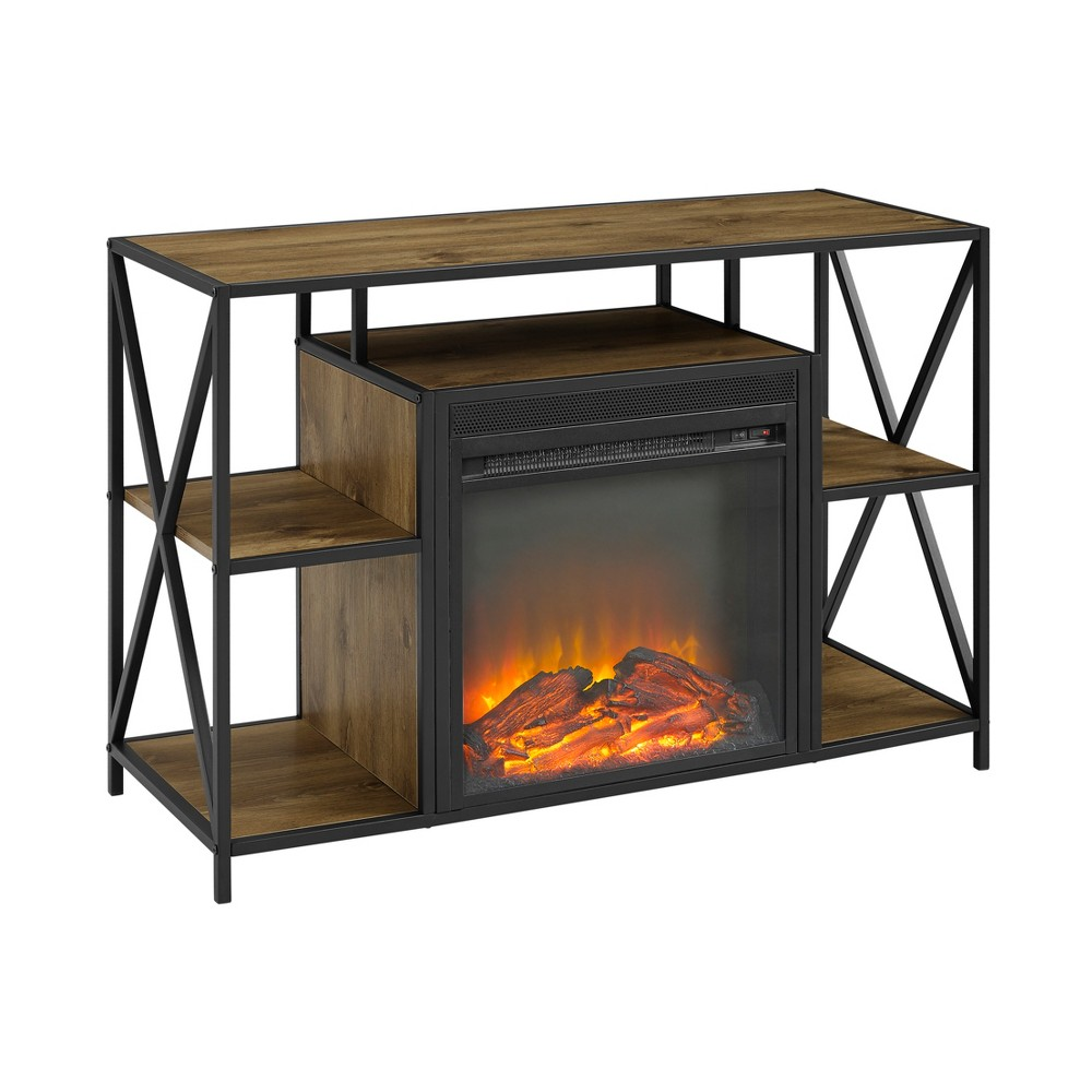 40 Rustic Electric Fireplace XFrame TV Stand Console Entertainment Center Barnwood - Saracina Home, Brown