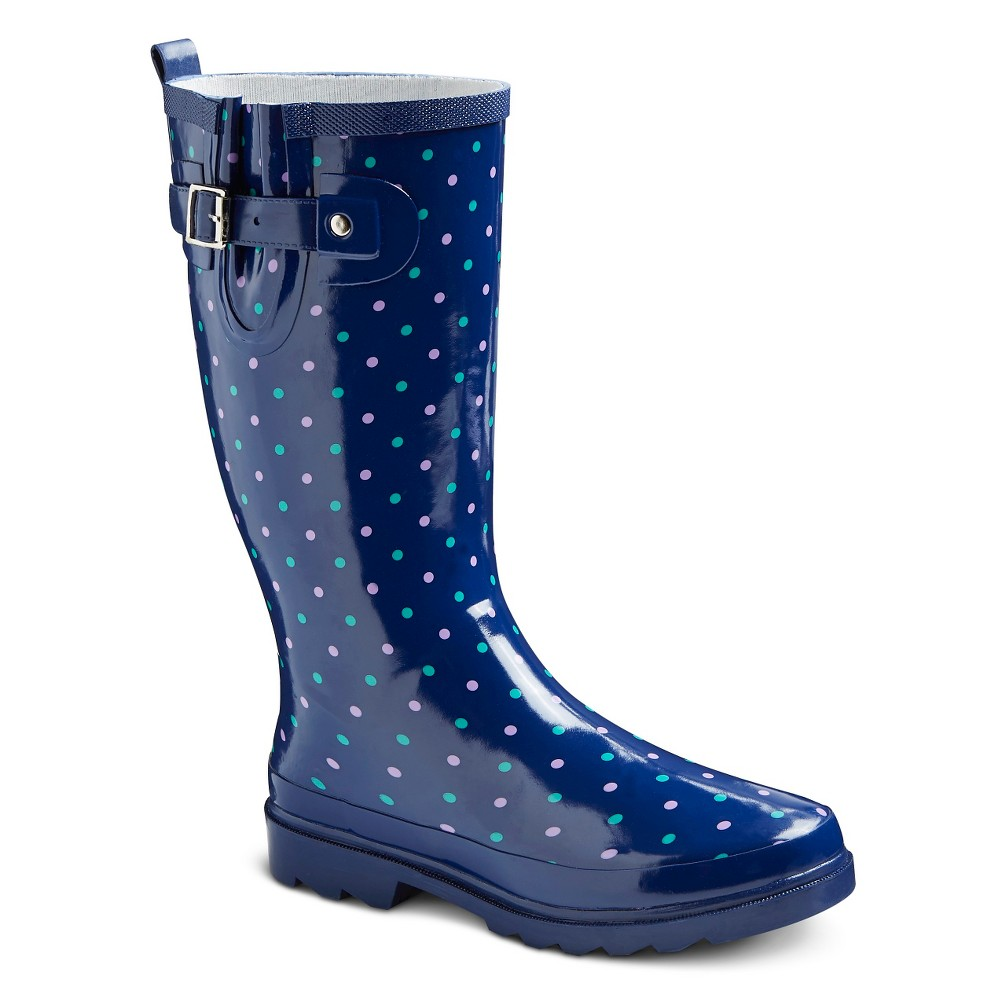 Women's Polka Dot Rain Boots - Navy (Blue) 6