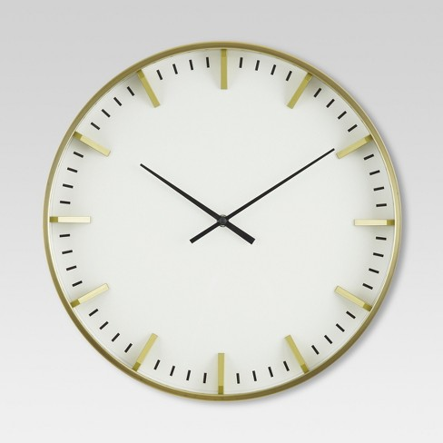 "Raised Marker 16"" Wall Clock White/Brass - Project 62™ - image 1 of 2"