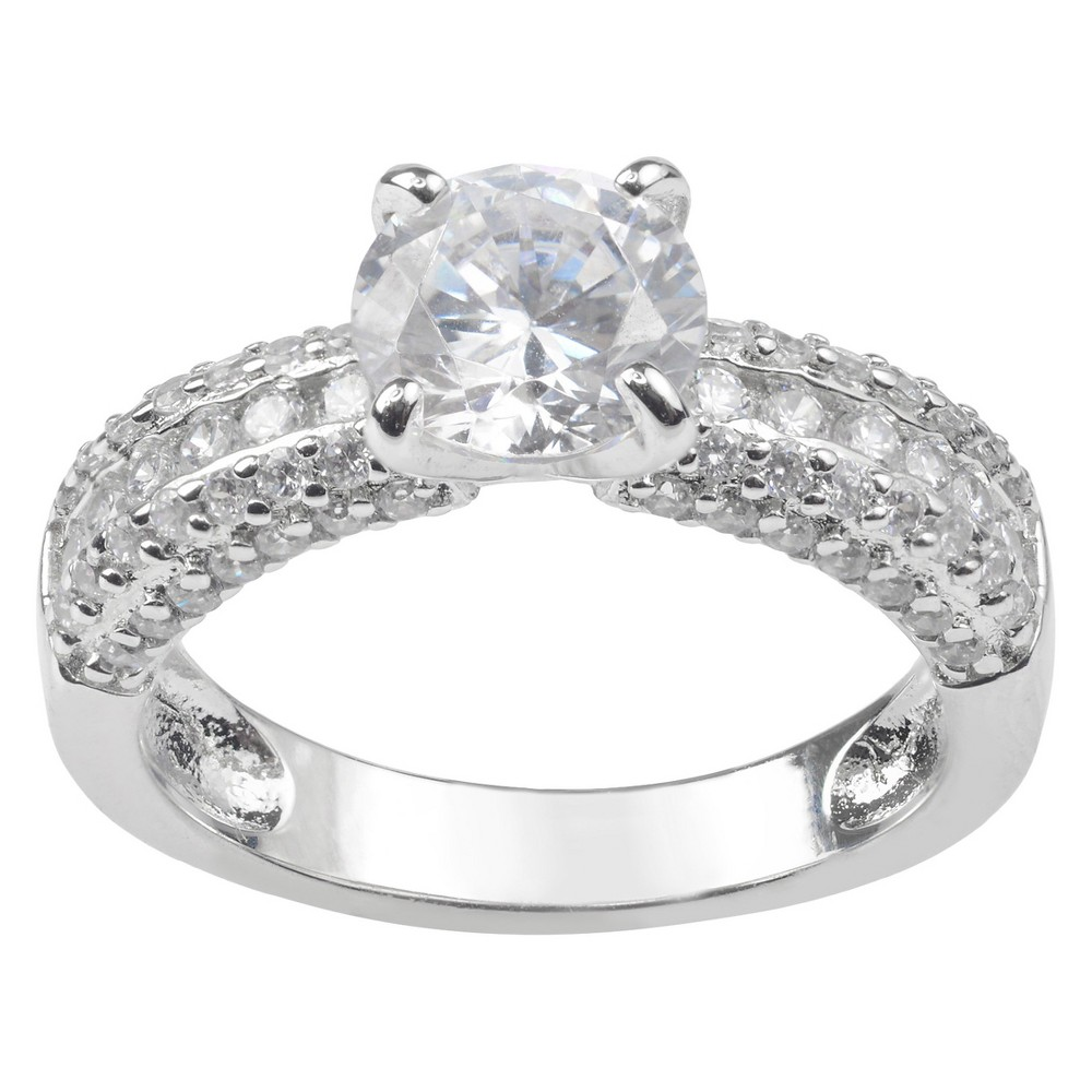 1 3/5 CT. T.W. Round-cut Cubic Zirconia Engagement Prong Set Ring in Sterling Silver - Silver, 8