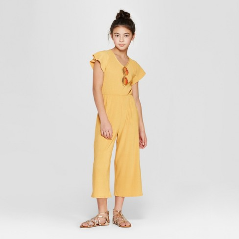Girls' Short Sleeve Jumpsuit - art class™ Gold - image 1 of 3