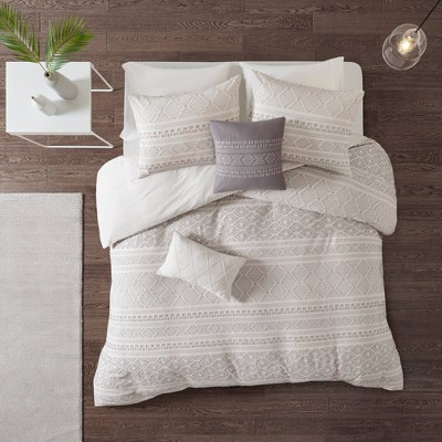 Emerson Full/Queen 5pc Clip Jacquard Duvet Cover Set White/Gray