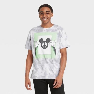 Men's Disney Mickey Peace Short Sleeve Graphic Crewneck T-Shirt - White/Silver