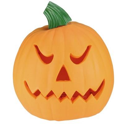 "Northlight 9.75"" Jack-O-Lantern Animated Double-Sided Halloween Pumpkin - Orange/Green"