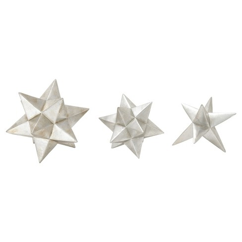 Modern Reflections Polystone Geometric Star Sculpture Silver 3pk - Olivia & May - image 1 of 1