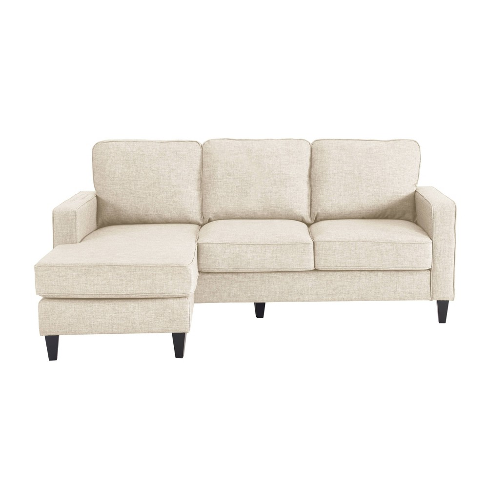 The Serta Harmon Sectional is perfect for adding big comfort to small spaces. If you love the look and versatility of a sectional but have a smaller living room, den, or basement, the Harmon is your happy solution. This cozy sectional comes in a variety of neutral colors to work with your existing decor, and the fabric upholstery is soft and inviting. So snuggle in for family movie night with the Serta Harmon Sectional! Color: Cream. Pattern: Solid.