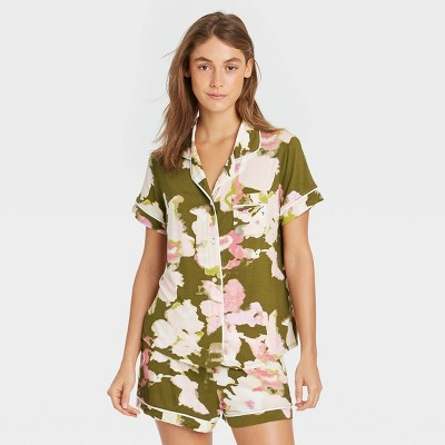 Women's Floral Print Beautifully Soft Short Sleeve Notch Collar Top and Shorts Pajama Set - Stars Above™ Green